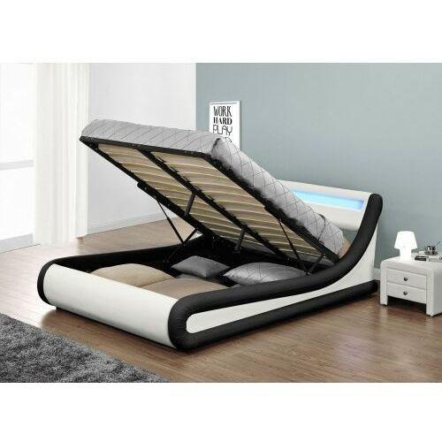 Łóżko z materacem tapicerowane 160x200 138 led biało-czarny marki Meblemwm