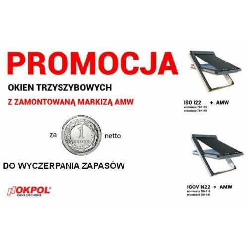 Okno dachowe OKPOL ISO I22 78x140 + Markiza zewnętrzna OKPOL AMW 78x140, ISO I22 78x140 + AMW 78x140