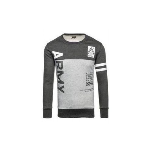 Bluza męska bez kaptura z nadrukiem antracytowo-szara denley j45, J.style
