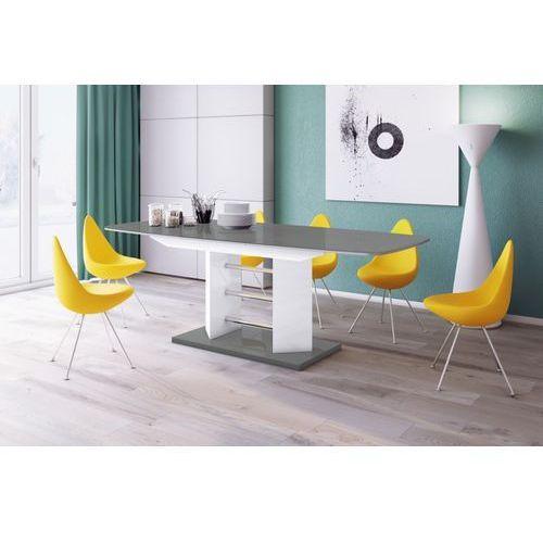 Hubertus design Stół rozkładany linosa 3 160cm szaro-biały wysoki połysk