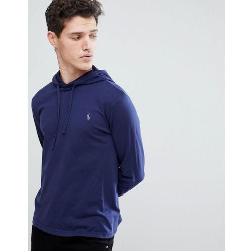 long sleeve hooded top with polo player in navy - navy marki Polo ralph lauren