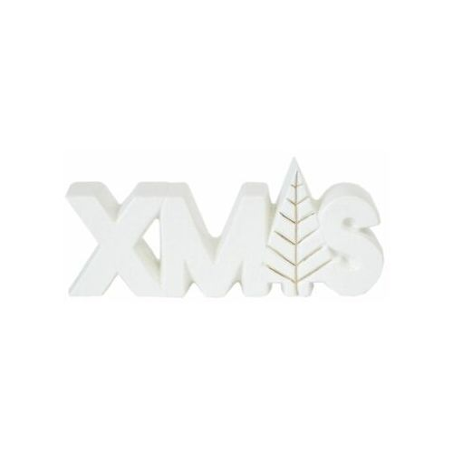 Tajemniczy ogród Figurka napis xmas porcelanowa 8 x 20 cm 1 szt. biała (5903039410817)