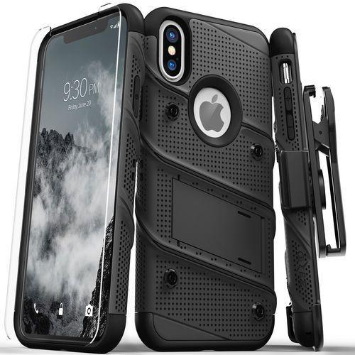 Zizo Bolt Cover Etui Pancerne iPhone Xs / X (Black/Black) + Szkło Hartowane Na Ekran, kolor czarny