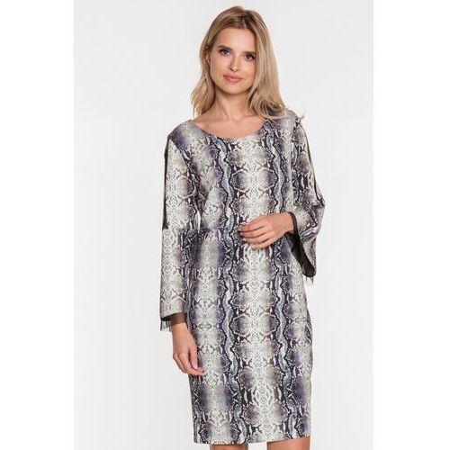Elegancka sukienka z rozszerzanymi rękawami - Margo Collection, kolor szary