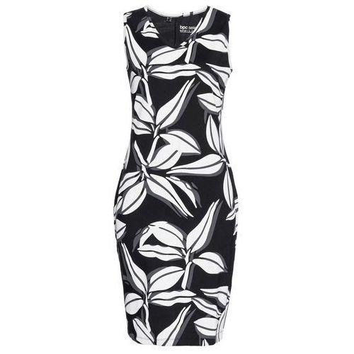 6c9b632585 Sukienka shirtowa bonprix czarno-biały z nadrukiem