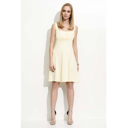 dbd53fc5cd Żółta sukienka na szerokich ramiączkach marki Makadamia