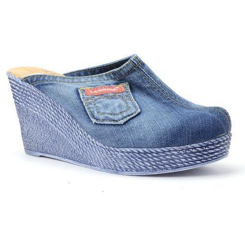 Klapki Lanqier 40C232 jeans, kolor niebieski