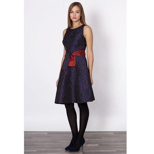 Granatowa sukienka w łezki - Click Fashion