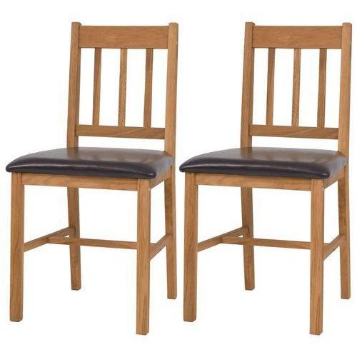 vidaXL Krzesła do jadalni, 2 szt., lite drewno dębowe, 43x48x85 cm (8718475561842)
