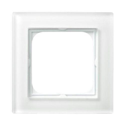 OSPEL SONATA R-1RG/31 Ramka pojedyncza BIAŁY Białe szkło, grubość 6mm, kolor biały