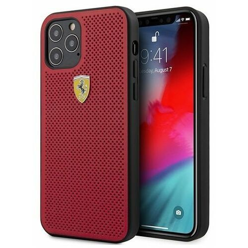 Ferrari fespehcp12mre iphone 12 pro / iphone 12 czerwony/red hardcase on track perforated (3700740479605)