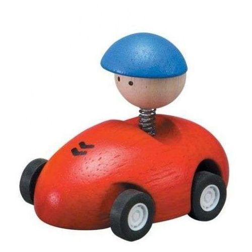 Plan toys Drewniane autko - wyścigówka z ludzikiem, czerwona,