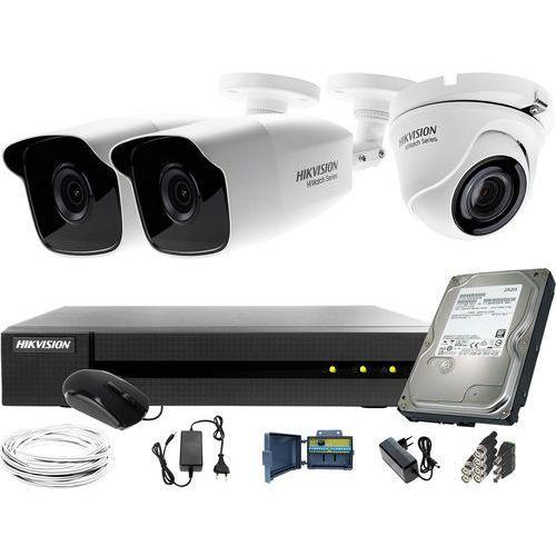 Hikvision hiwatch 2x hwt-b220-m 1xhwt-t120-m zestaw monitoringu hwd-6104mh-g2 dysk twardy 1tb akcesoria