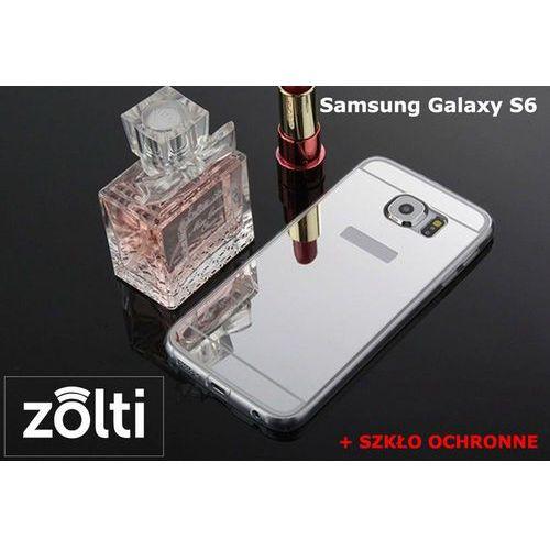 Zestaw   Slim Mirror Case Srebrny + Szkło ochronne Perfect Glass   Etui dla Samsung Galaxy S6, kolor szary