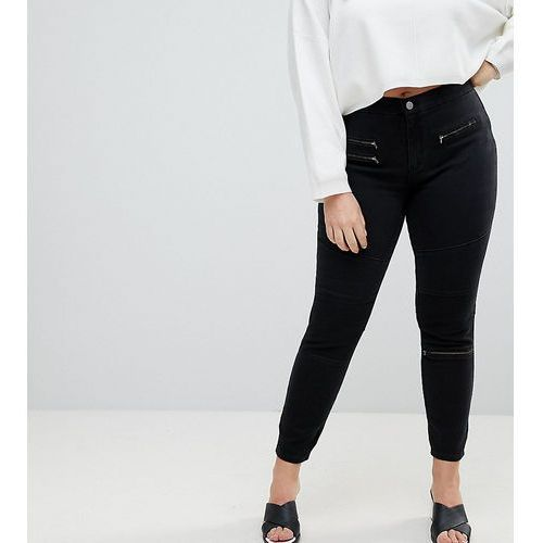ASOS DESIGN Curve 'Sculpt me' high waisted premium jeans in coated black with biker styling - Black, kolor czarny