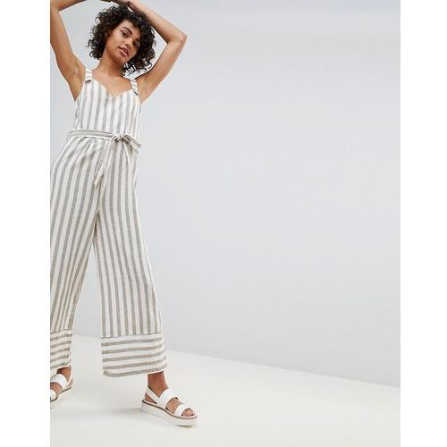Stradivarius striped linen jumpsuit - multi