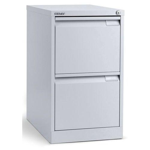 Szafka na kartotekę wiszącą, 1-torowa, 2 szuflady, din a4, biały aluminium. na t marki Bisley