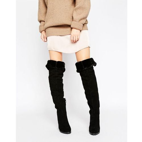 River Island Studio Suede Over the Knee Faux Fur Lined Boots - Black