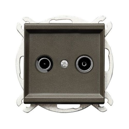 Gniazdo antenowe RTV przelotowe 14dB Czekoladowy metalik - GPA-14RP/m/40 Sonata, GPA-14RP/M/40