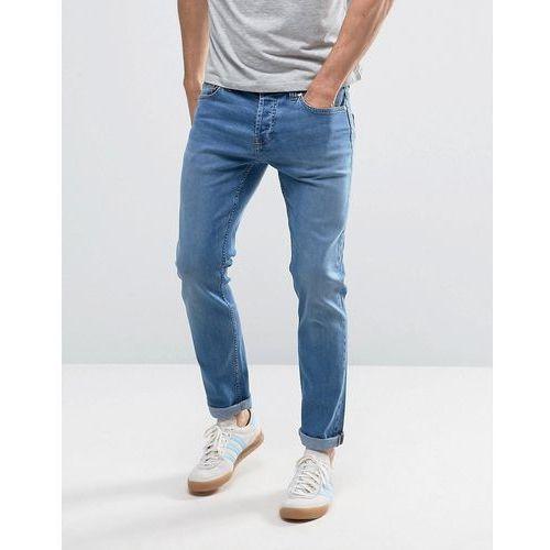 Only & sons  slim fit stretch jeans in medium blue vintage wash - blue