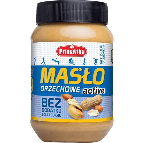 - masło orzechowe active bez soli i cukru 470g marki Primavika