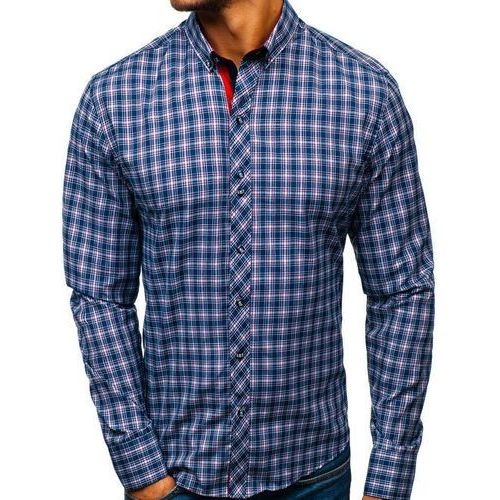 Koszula męska w kratę z długim rękawem granatowo-czerwona 8835 marki Bolf