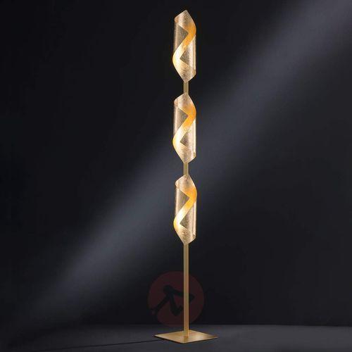 Safira - lampa stojąca LED, lśniący złoty kolor