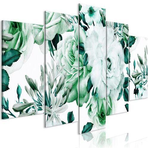 Artgeist Obraz - różana kompozycja (5-częściowy) szeroki zielony