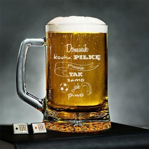 Kocha Piłkę Prawie Jak Piwo - Personalizowany Kufel - Kufel do piwa