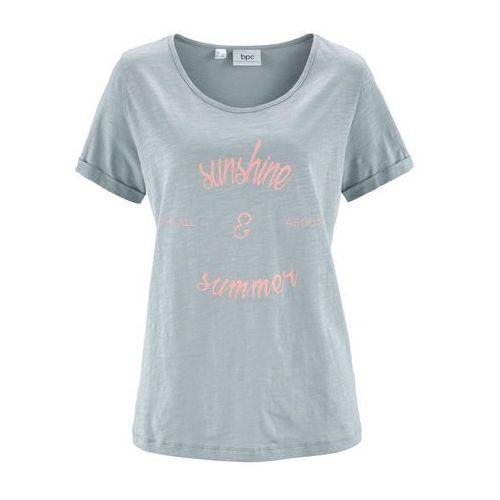 Bonprix Shirt, krótki rękaw srebrnoszary z nadrukiem