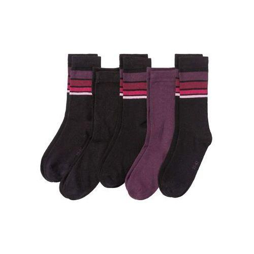 Skarpetki damskie (5 par) bonprix czarno-jeżynowy w paski, kolor wielokolorowy