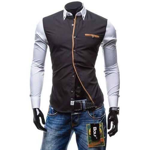 Czarno-biała koszula męska elegancka z długim rękawem Bolf 5723 - CZARNO-BIAŁY