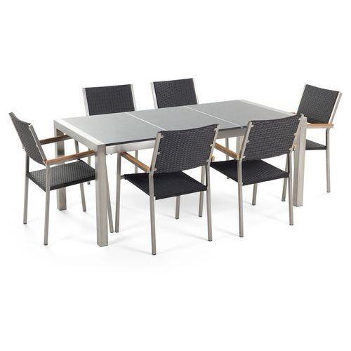 Stół granitowy szary polerowany 180 cm z 6 rattanowymi krzesłami - grosseto marki Beliani
