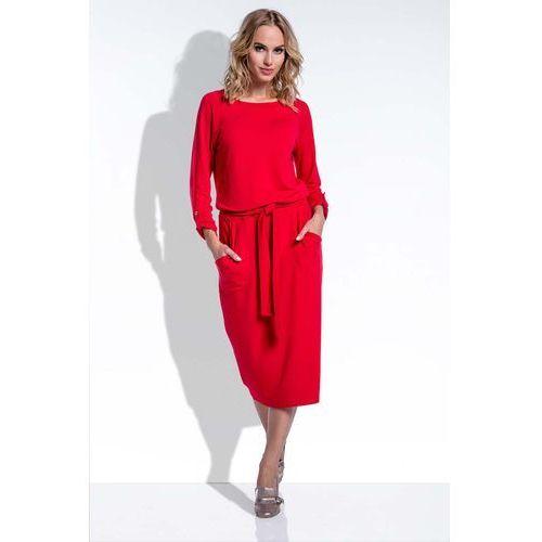 Midi czerwona sukienka w stylu casual z podpinanymi rękawami marki Fobya