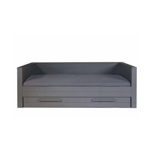 Woood łóżko dennis z oparciem ciemnoszare 365561-gbs