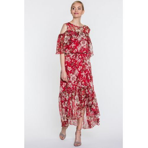 Czerwona sukienka maxi w kwiaty - SU, 1 rozmiar