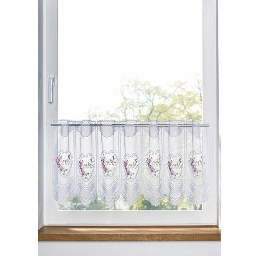 Zazdrostka żakardowa z nadrukiem w serduszka biało-jasnoróżowy marki Bonprix