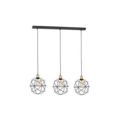 Luminex gerid 956 lampa wisząca zwis 3x60w e27 czarny mosiądz