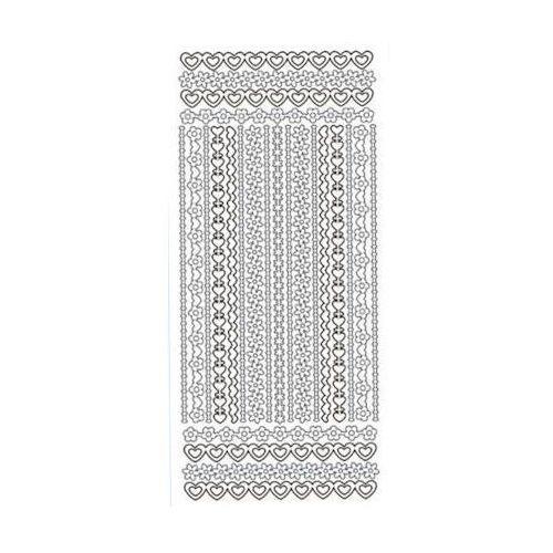 Herma Sticker srebrny 03250 - szlaczki z serduszek x1