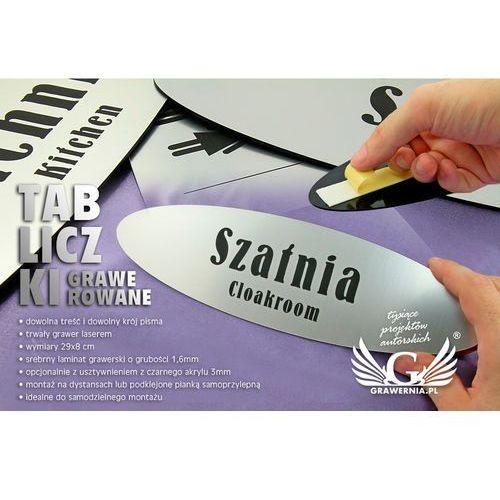 Tabliczki dla twojej firmy - z nazwami pomieszczeń - 29x8cm - eliptyczne marki Grawernia.pl - grawerowanie i wycinanie laserem