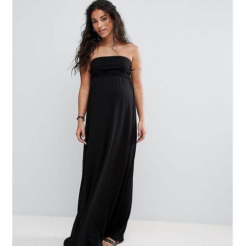 beach bandeau maxi dress - black marki Asos maternity