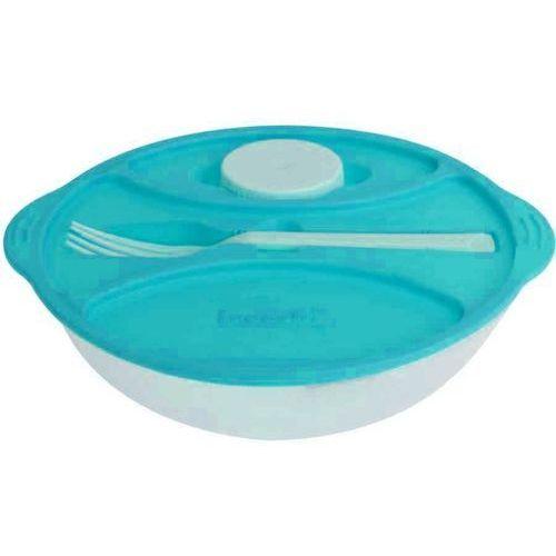 4home Plastikowe pudełko do sałaty ze sztućcami frooshi, śr. 21 cm