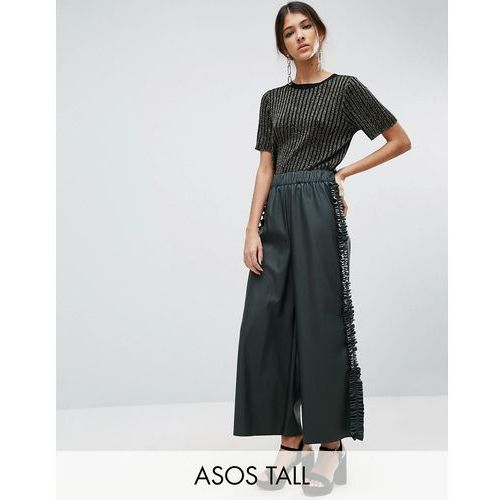 ASOS TALL Frill Side Leather Look Culotte Trousers - Green