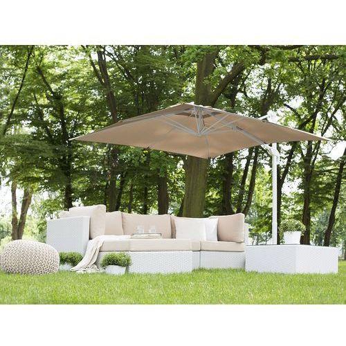 Parasol ogrodowy 250 x 250 x 235 cm piaskowy/biały MONZA (4260602371007)
