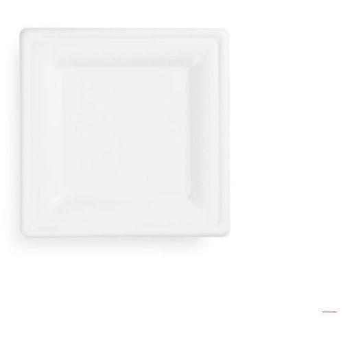 Talerz z trzciny cukrowej, kwadratowy 20x20cm, biały, op. 50 szt. 100% biodegradowalny 84586