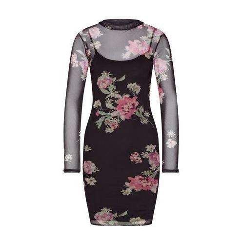sukienka różowy pudrowy / czarny, New look, 34-42