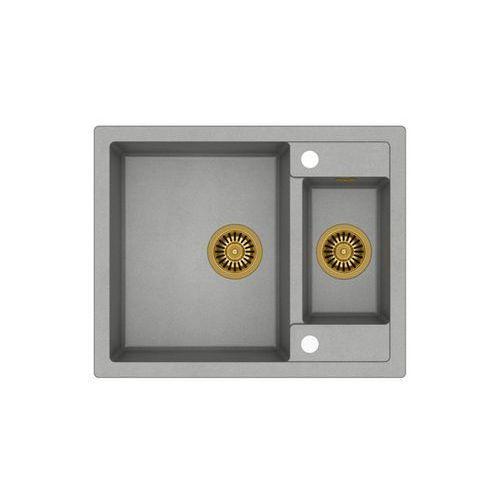 Zlew granitowy ze złotym syfonem Quadron Morgan 150 - Szary