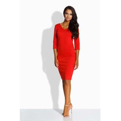 Czerwona Sukienka Dopasowana z Dekoltem V, w 2 rozmiarach