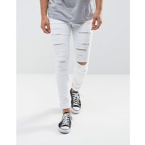 River Island Super Skinny Jeans With Extreme Rips In White - White, kolor biały