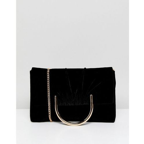 French Connection Foldover Clutch With Suede Panel - Black